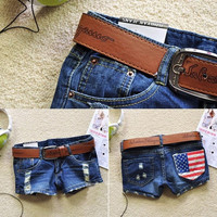 Hot Sales 2015 Summer New Arrival Women Fasion Denim Sexy America Flag Jeans a Shorts Blue Short Pants = 5709436737