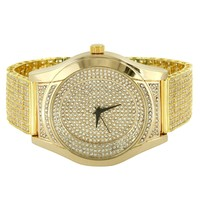 Designer 14k Gold Finish  Men's Watch with Custom Band