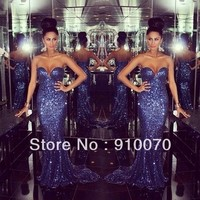 Sparkling Deep Blue Sweetheart Sequined Lace Long Prom Dresses 2014 Mermaid Short Trailing-in Prom Dresses from Apparel & Accessories on Aliexpress.com | Alibaba Group