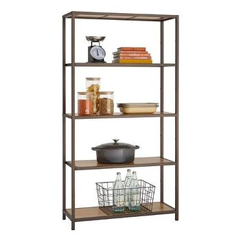 Heavy Duty 5-Shelf Steel Frame Shelving Unit with Bamboo Shelves