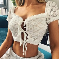 Summer new solid color short-sleeved cardigan women's lace top White