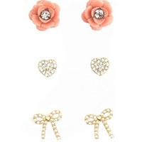 Hearts, Flowers & Bows Earring Trio: Charlotte Russe