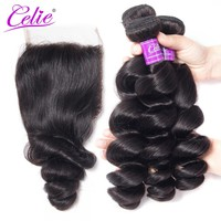 Celie Hair Brazilian Virgin Hair Loose Wave 3 Bundles With closure 4 Pcs/Lot Human Hair Weave Bundles With Swiss Lace Closure