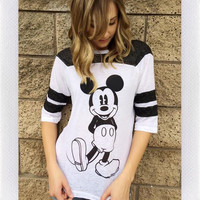 MICKEY MOUSE TEE- BLK/WHT