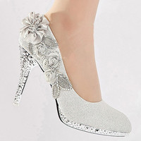 Women Glitter Crystal Flower Wedding Bridal Evening Party High Heel Court Shoes silver shoes = 1932616644