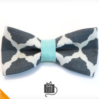 """Pet Bow Tie - """"Rorschach"""" - Abstract Gray Print w/ Mint Accent - Detachable Bowtie for Cats + Dogs"""
