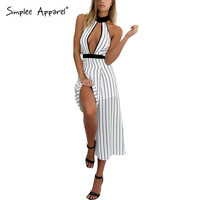 Simplee Apparel sexy deep v neck chiffon striped women jumpsuit romper Sleeveless girl playsuit Halter backless straight macacao