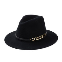 Classic wool fedora Hats new autumn winter chain fedora for women colorful jazz caps  [HYHXF206g]