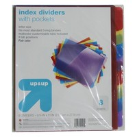 up & up® - 8-tab Poly Index Divider with Pockets