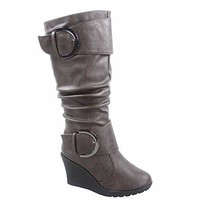Mid-Calf Boots With Wedge Heels