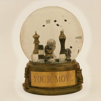 Your Move - one of a kind chess game snow globe with shakeable squares in black and white