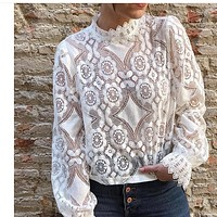 New hot selling sexy see-through long sleeve stand collar lace unlined upper garment