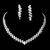 Necklace + 1 Pair Earrings Silver Prom Wedding Jewelry Bridal Crystal Rhinestone Necklace Earring For Women 1 Pcs