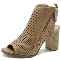 Women's Shoe Zip up Cutout Chunky Stacked Heesl Ankle Booties