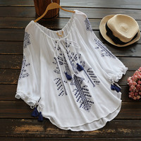Cupshe Ramble Tamble Tassel Embroidered Top