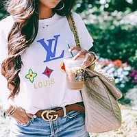 Louis Vuitton LV  Women Men FLower Print Colorful Print Tee Shirt Top White