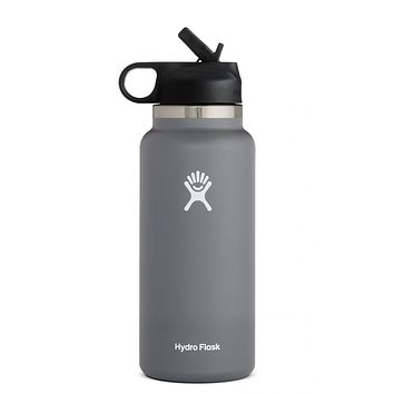 32 oz Wide Mouth with Straw Lid Hydro Flask - Stone
