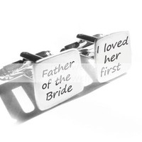 Father Cufflinks Square Father of the Bride Loved her First Hand Stamped Wedding personalized gift men cuff links Birthday dad daddy