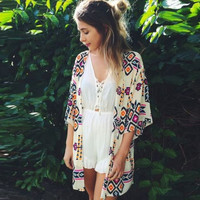 Bikini Cover Up Swimwear Long Sleeve Chiffon Beach Short Dress
