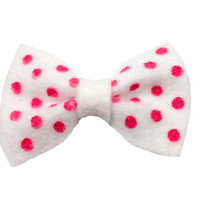 White & Pink Hand Dotted Polka Dot Hair Bow FREE SHIPPING