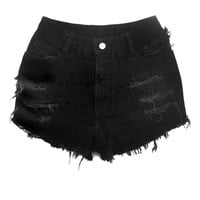 Black High Waisted Jean Shorts - Shredded