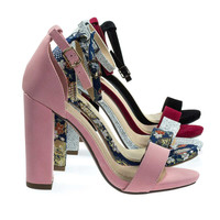 ShinerD Pink By Delicious, Chunky Block High Heel Sandal w Ankle Strap in Velvet, Glitter & Up