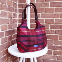 Plaid purse simple minimalist medium purse handbag shoulder bag canvas bag real genuine leather black straps elegant everyday purse marsala