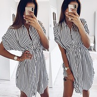 2020 new women's striped waist drawstring casual short-sleeved dress