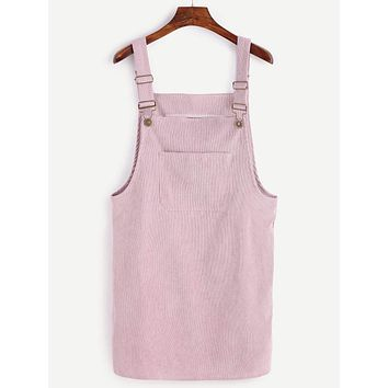 Front Pocket Corduroy Overall Dress