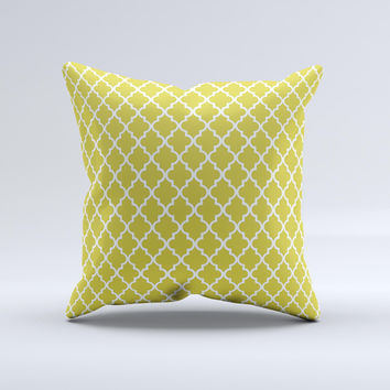 Gold White Seamless Morocan Pattern Ink-Fuzed Decorative Throw Pillow