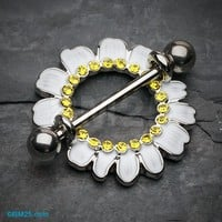 Adorable White Daisy Nipple Shield Ring