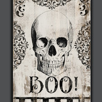 Halloween wooden sign.  Boo! Handmade Approx. 13x19x3/4 inches.