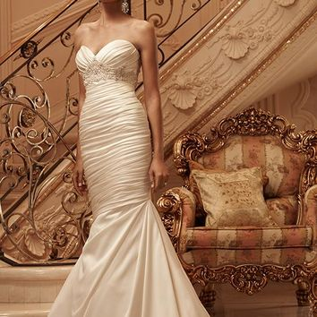 Casablanca Bridal 2118 Strapless Ruched Satin Mermaid Wedding Dress