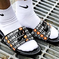 NIKE Benassi Slide New fashion letter hook print shoes flip flop slippers Black