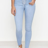 PacSun Magic Blue Lace-Up High Rise Jeggings at PacSun.com