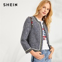 SHEIN Multicolor Elegant Workwear Tassel Detail Frayed Edge Fashion Short Jacket 2018 Autumn Highstreet Women Coat And Outerwear