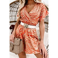 """""""Earn Your Stripes"""" Ribbed Knit Striped Romper (Taupe/Coral)"""