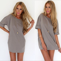Grey Folded Sleeve Chiffon Casual Blouse