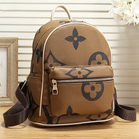 Hipgirls LV Louis Vuitton LV Fashion New monogram print leather school bag book bag backpack bag