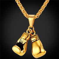 Boxing Glove Pendant Charm Necklace Sport Boxing Jewelry 316L Stainless Steel/18K Real Gold Plated Chain For Men 2016 New GP2171