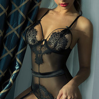 Eyelash Lace Teddy with Garters