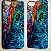 Peacock feathers Painting F0134 iPhone 4S 5S 5C 6 6Plus, iPod 4 5, LG G2 G3, Sony Z2 Case