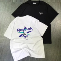 Reebok Summer new fashion bust and back letter pattern print women and men short sleeve top t-shirt two color