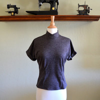 Vintage Wool Blend Sweater Top, New Old Stock, Arnelle of California, Heather Brown, Short Sleeves, Buttons in the Back, 1960s