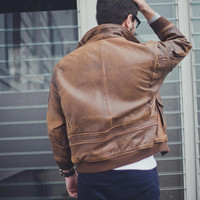 Vintage Australian 1980s Classic Aviator/Pilot leather jacket SM/MD