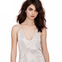 Halter Strap Mid Ring Cross Out Necklace