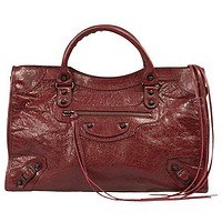 Balenciaga Women's Classic City Leather Bag, Rouge Cerise, Medium