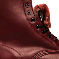 The Serena Boot in Cherry Red with Faux Fur Lining