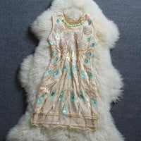 Fashion Embroidered Flower Sequined Dress