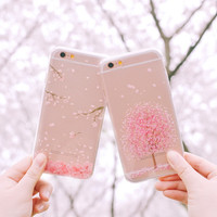 Fashion sweet cherry blossom Phone Case For iphone 7 7Plus 6 6s Plus 5 SE Soft TPU